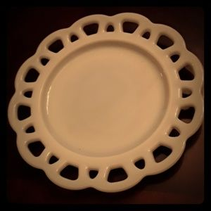 Anchor milk glass plate lace Edge